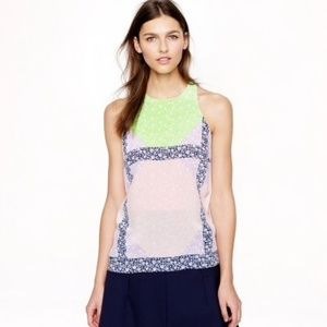 J. Crew Windowpane Floral Silk Top